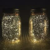 Solar Mason Jar Lights, T-MIX Two-Piece Set Waterproof Fairy Light Decorative Lighting Fence Lights for Homes, Gardens, Yard, Wedding, Christmas Party, Hallowee