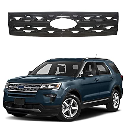 NINTE Grill Cover For 2018 2019 Ford Explorer Painted Gloss Black Front Grille Covers