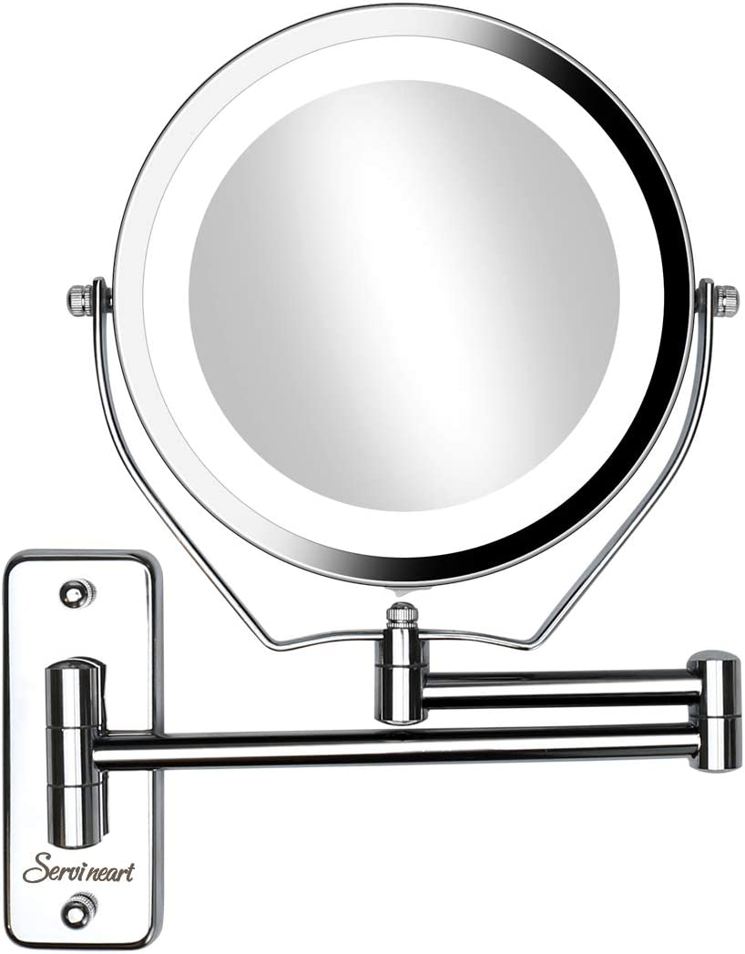 """Servineart 7"""" 1X &10X Magnifying Double Sided Vanity Makeup Mirror Light, Wall Mount"""