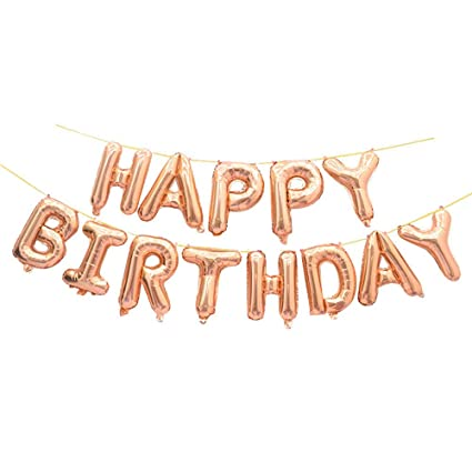 GOER Rose Gold Happy Birthday Balloons16 Inch Foil Letter Balloons Banner For Party