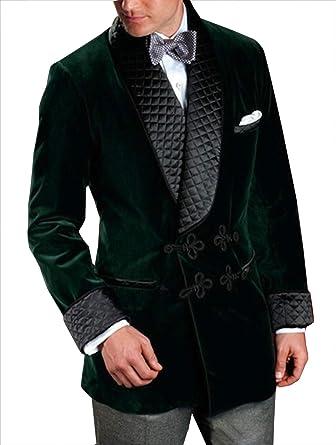 Pinkcityart Mens Smoking Jacket Green Velvet Blazer Hosting Evening Dinner Party Wear Coat Blazers L
