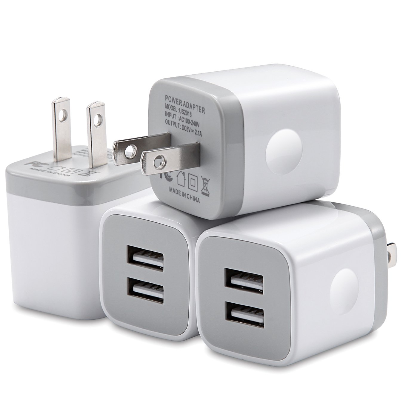 WITPRO USB Wall Charger, 4-Pack 2.1A Dual Port USB Power Adapter Wall Charger Plug Charging Cube Compatible with iPhone X/8/7/6 Plus 5S/4S, iPad, Samsung, LG, Moto, HTC, Android Phones (White)