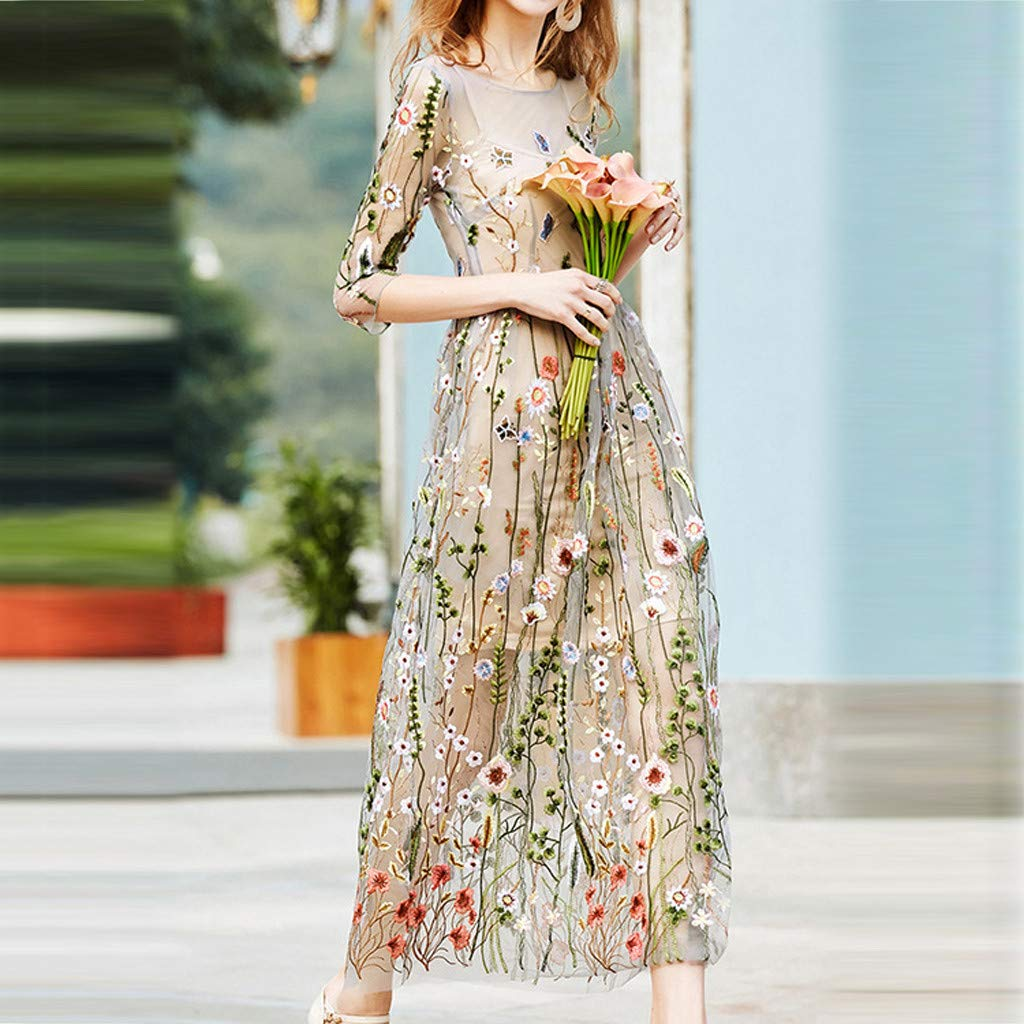 Onegirl Women's Fashion Floral Embroidered Dresses Mesh Half Sleeves Sheer Two-Piece Evening Party Dress Beige by Onegirl-dress (Image #3)
