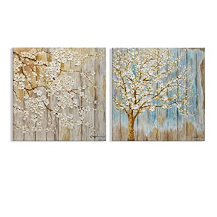 Amazon.com: Kas Home Art Modern Abstract Blooming White Flower Tree ...