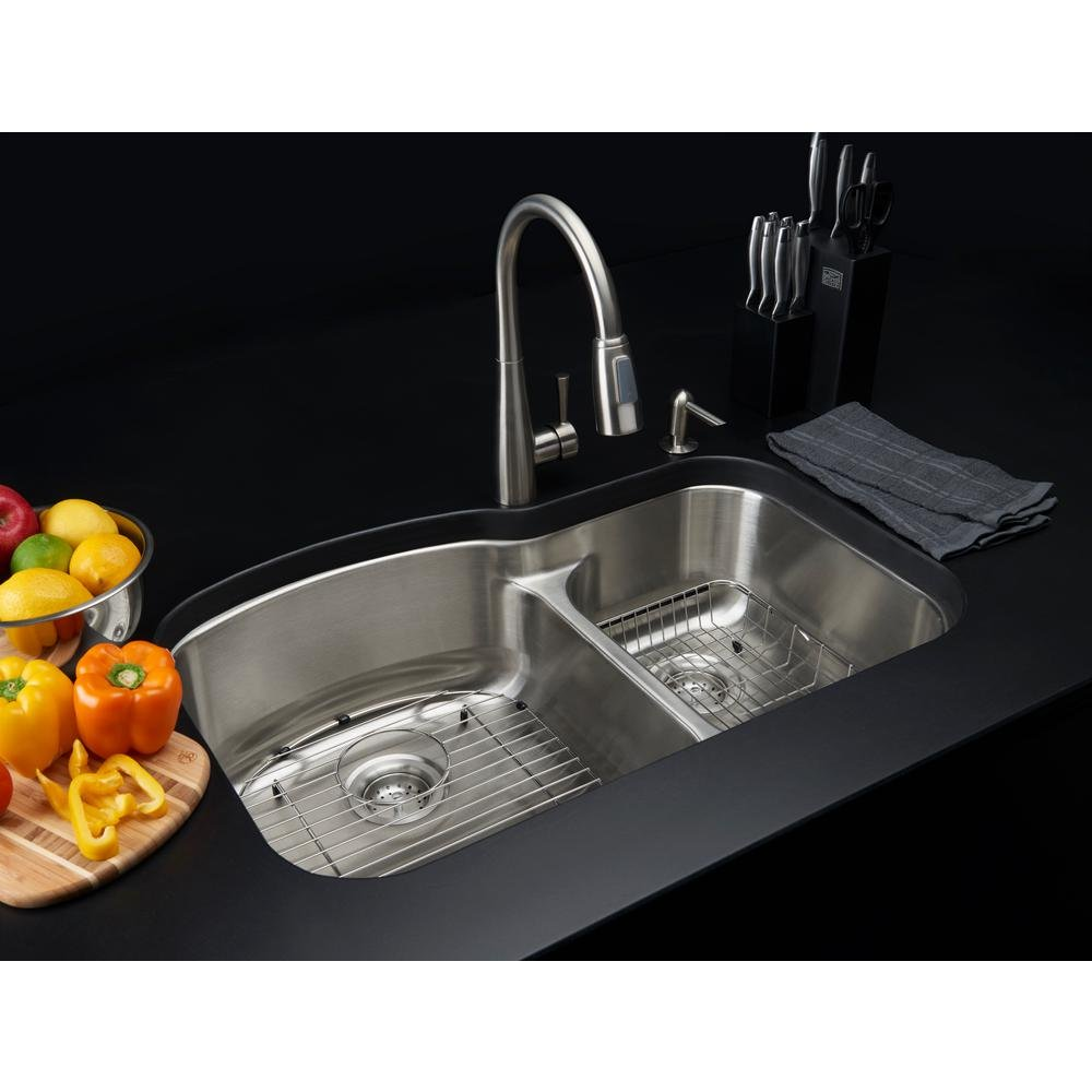 Glacier Bay All-in-one Dual Mount Stainless Steel 33 In. 2-hole Double Bowl Kitchen Sink