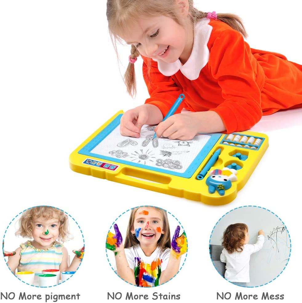 Childrens Magnetic Drawing Board erasable pad Writing Painting for Kids with 2 Stamps and Abacus Child Education Learning Toys /& Gifts for Boys Girls