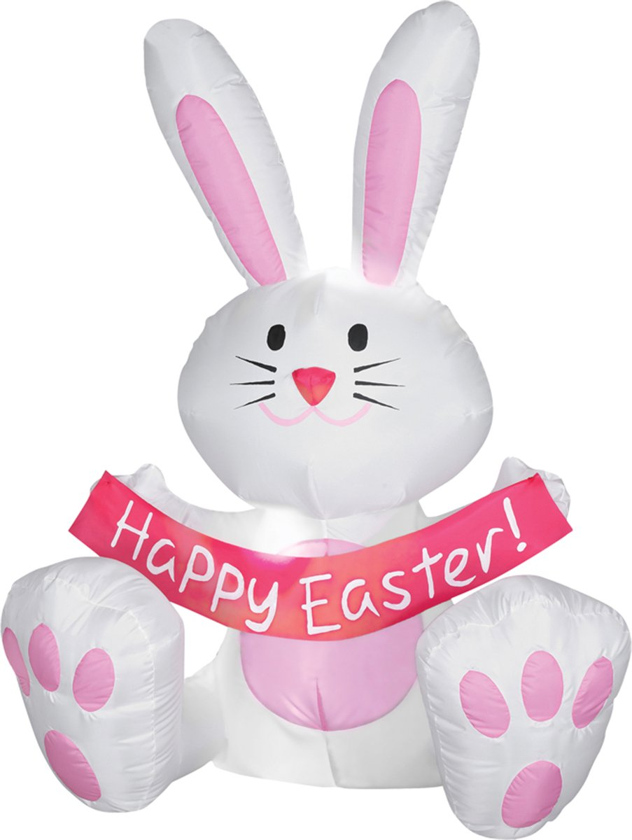amazon com 4 foot happy easter bunny airblown inflatable garden