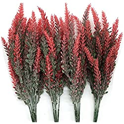 CATTREE Artificial Lavender, Plastic Plants Fake Flowers Bouquet Home Bridal Wedding Office Party Garden Balcony Indoor Outdoor DIY Centerpieces Arrangements Simulation Craft Decoration Red 4pcs