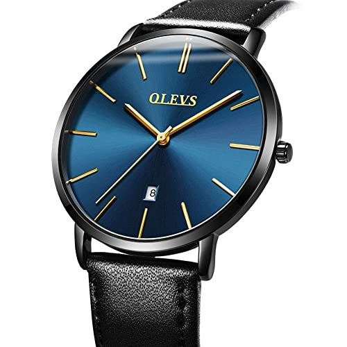 Mens Thin Watches Blue Dial,Simple Leather Watch Men Wrist Watch Rose Gold Casual Waterproof