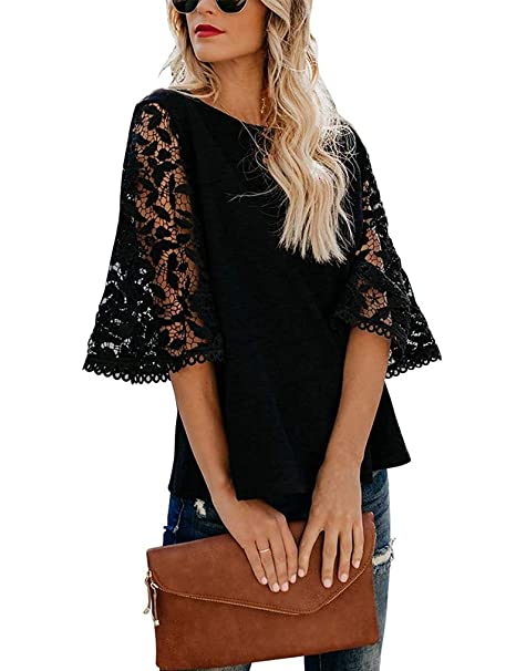 187199cc027126 Women's 3/4 Bell Sleeve Tops Mesh Lace Blouse o Neck Casual Loose Tee Shirts