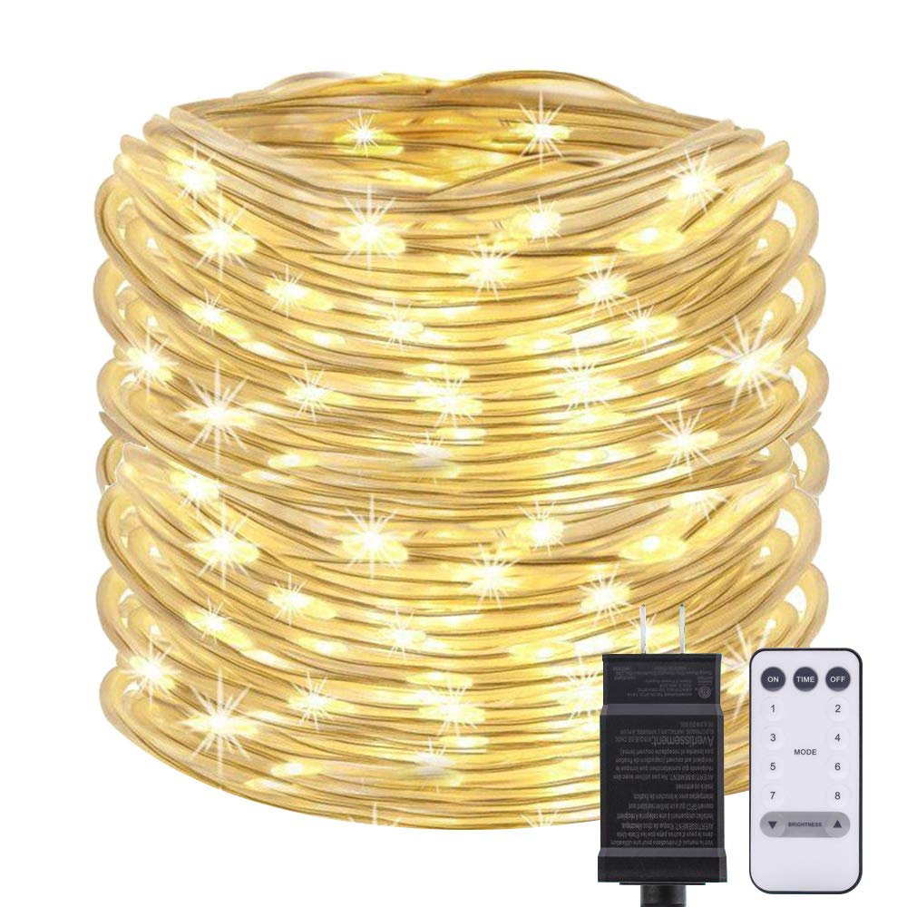 ANJAYLIA 66FT 200 LED Rope Lights Plug in Fairy String Lights with Timer Remote Control Waterproof Rope Lights Decor for Outdoor, Party, Christmas, Garden, Patio, Wedding (Warm White)