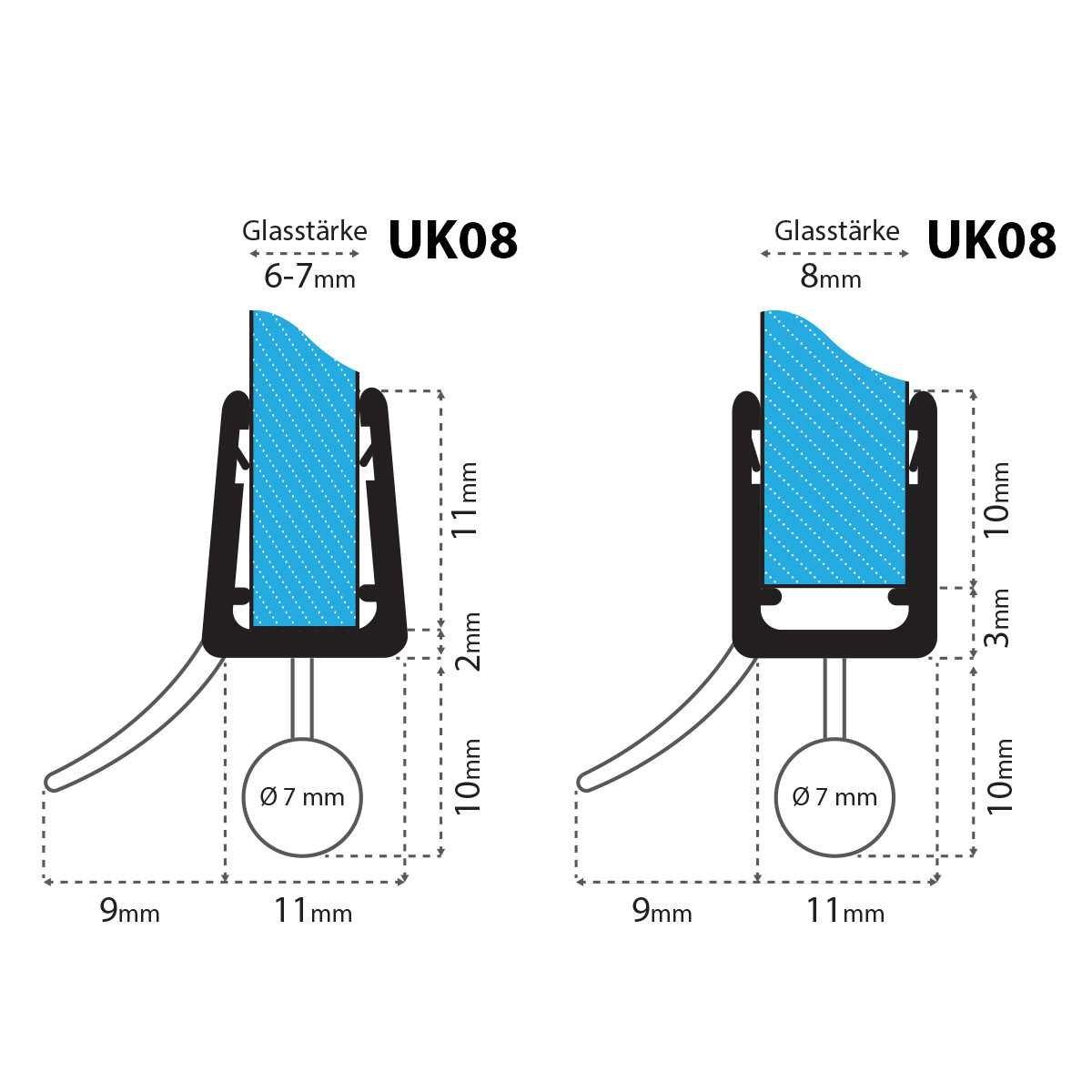 70 Cm UK08 joint pour 6 mm//7 mm//8 mm /épaisseur de verre cachet rond joint de rechange