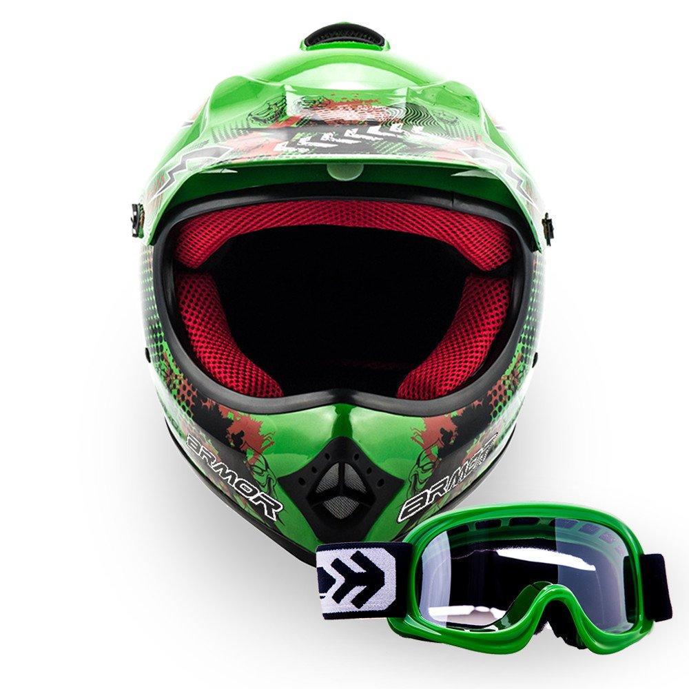 """Armor · AKC-49 Set """"Green"""" (green) · Casco Moto-Cross · Off-Road Motocicletta Scooter Quad Racing Bambino · DOT certificato · Click-n-Secure™ Clip · Borsa per il trasporto · XL (59-60cm)"""