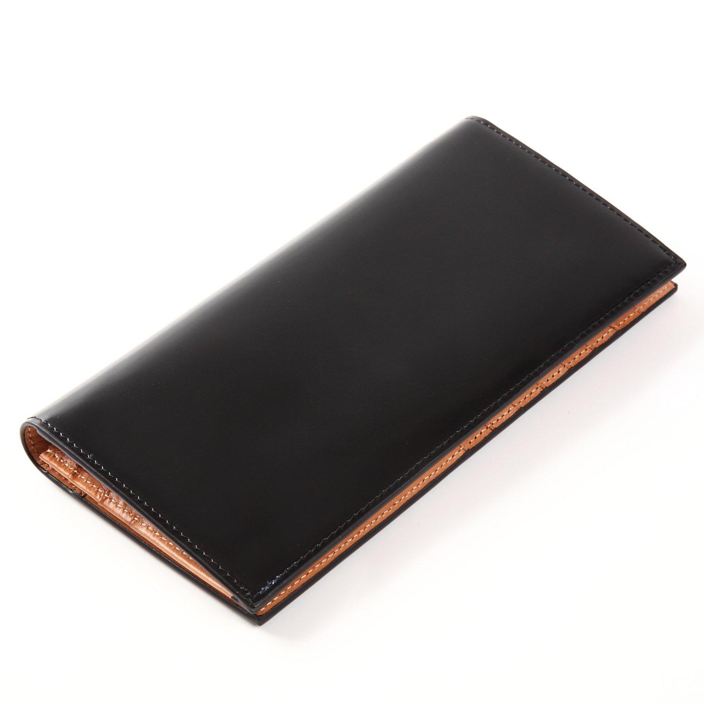un bel tocco (ウンベルトッコ)イタリアンレザー コードバン 長財布 B079RF9FY4  ブラック