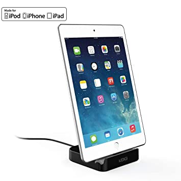 KIDIGI Charging Dock, Apple MFi Certified Desktop Charger Cradle, Charging & Data Sync Stand Holder for iPhone, iPad. (Black)