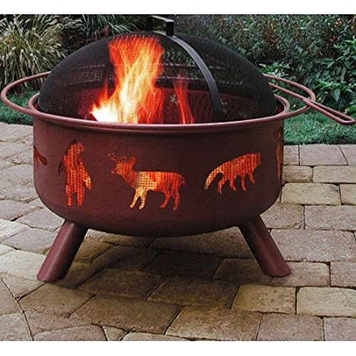 360 Lengths Animal Cutouts Fire View Portable Patio Metal Fire Pit
