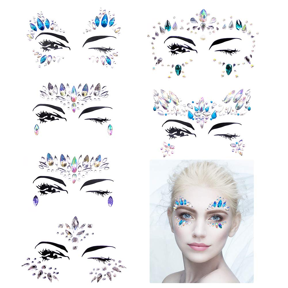 Face Gems Stickers, 6 Sheets Face Eyes Jewelry Crystal Rhinestone Glitter Stickers Temporary Tattoo Stickers for Music Festival Party Dance Performace Halloween ANTOPM