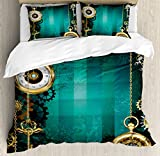 Industrial Duvet Cover Set Queen Size by Ambesonne, Antique Items Watches Keys and Chains with Steampunk Influences Illustration, Decorative 3 Piece Bedding Set with 2 Pillow Shams, Multicolor