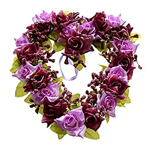 SODIAL(R) Heart Shaped Artificial Flower Wreath Door Decoration Hanging Wreaths with Silk Ribbon for Wedding Decoration(white)22x21x3.5cm 1