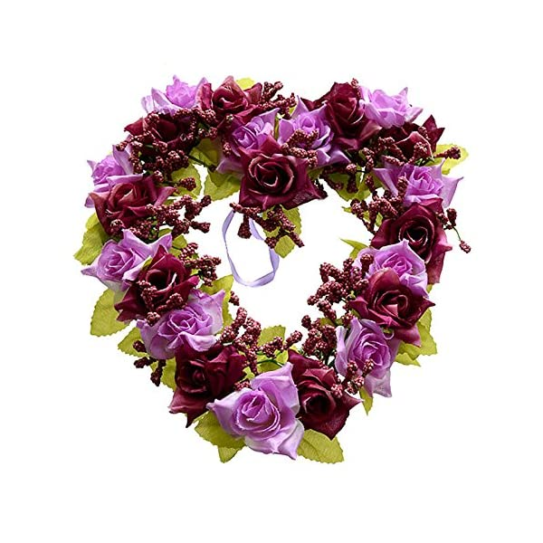 SODIALR-Heart-Shaped-Artificial-Flower-Wreath-Door-Decoration-Hanging-Wreaths-with-Silk-Ribbon-for-Wedding-Decorationwhite22x21x35cm
