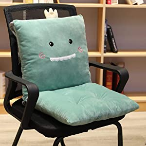 ChezMax Detachable Cartoon Animal/Fruit Polyester PP Cotton Filled Seat Back Chair Pad Thickened Rocking Chair Cushion Set with Ties for Home Office Dinning Chair Dinosaur