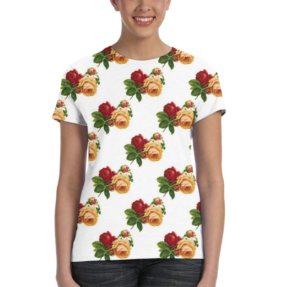 Vintage Roses Pattern Womens Fashion Round Neck Loose Sports Casual T-Shirt Wild Short Sleeve