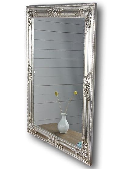 Specchio da parete bianco oro argento cornice in legno, Legno, argento, 82  x 62cm