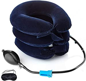 Cervical Neck Traction Device FDA Registered – Inflatable, Adjustable Neck Stretcher Collar for Home Traction Spine Alignment (Blue)