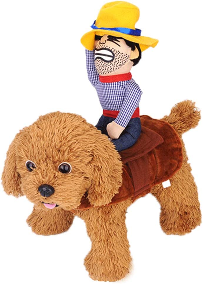 Dog Costume Halloween Pet Dog Cowboy Rider Costume Christmas Dogs Cats Suit Outfit Knight Style with Doll and Hat Adjustable Puppy Novelty Funny Cosplay Clothes Clothing Dog Dress Up Apparel Costume