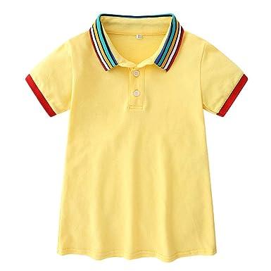 Niña Polo Vestido Manga Corta del Arco Iris Camiseta Collar T ...