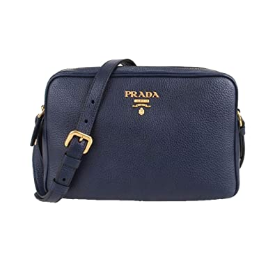 Prada Women s Navy Blue Vitello Phenix Leather Crossbody 1BH079  Handbags   Amazon.com