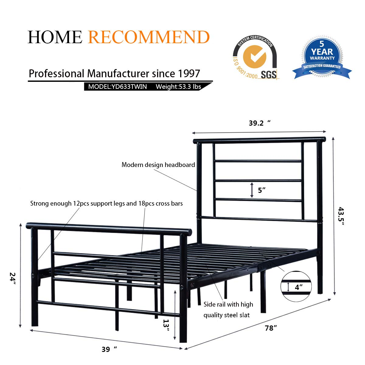 97e74b0cec184 HOMERECOMMEND Metal Bed Platform Box Spring Replacement Foundation with  Headboards Hevay Duty Steel Slats