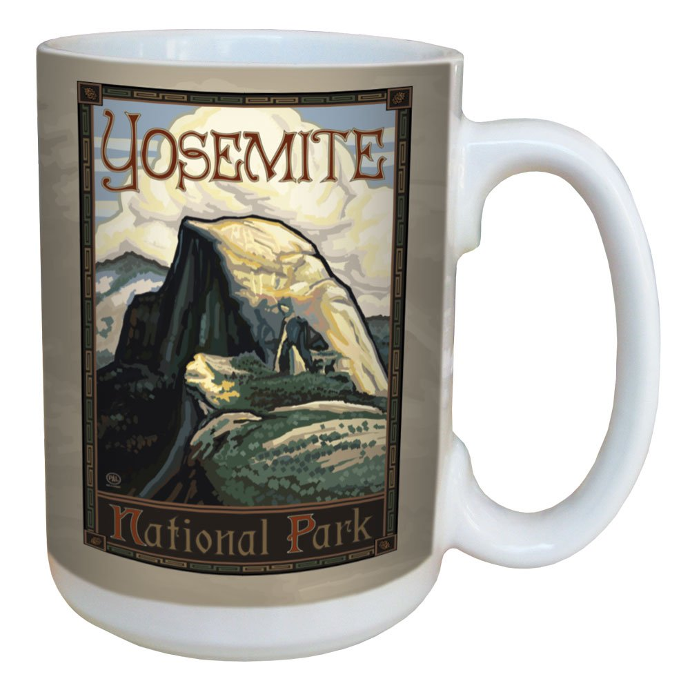 Multicolored Tree Free LM79476 TreeFree Greetings 79476 Yosemite National Park Half Dome by Paul A 15-Ounce Lanquist Ceramic Mug with Full-Sized Handle