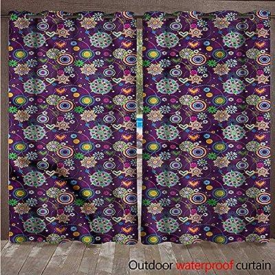 cobeDecor Hippie Outdoor Balcony Privacy Curtain Sixties Inspirations