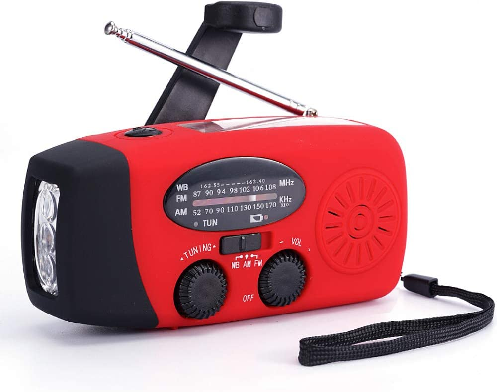 FM/AM/NOAA Weather Radio Hand Crank Self Powered Solar Emergency Radios with 3 LED Flashlight 1000mAh Power Bank Smart Phone Charger (Red)