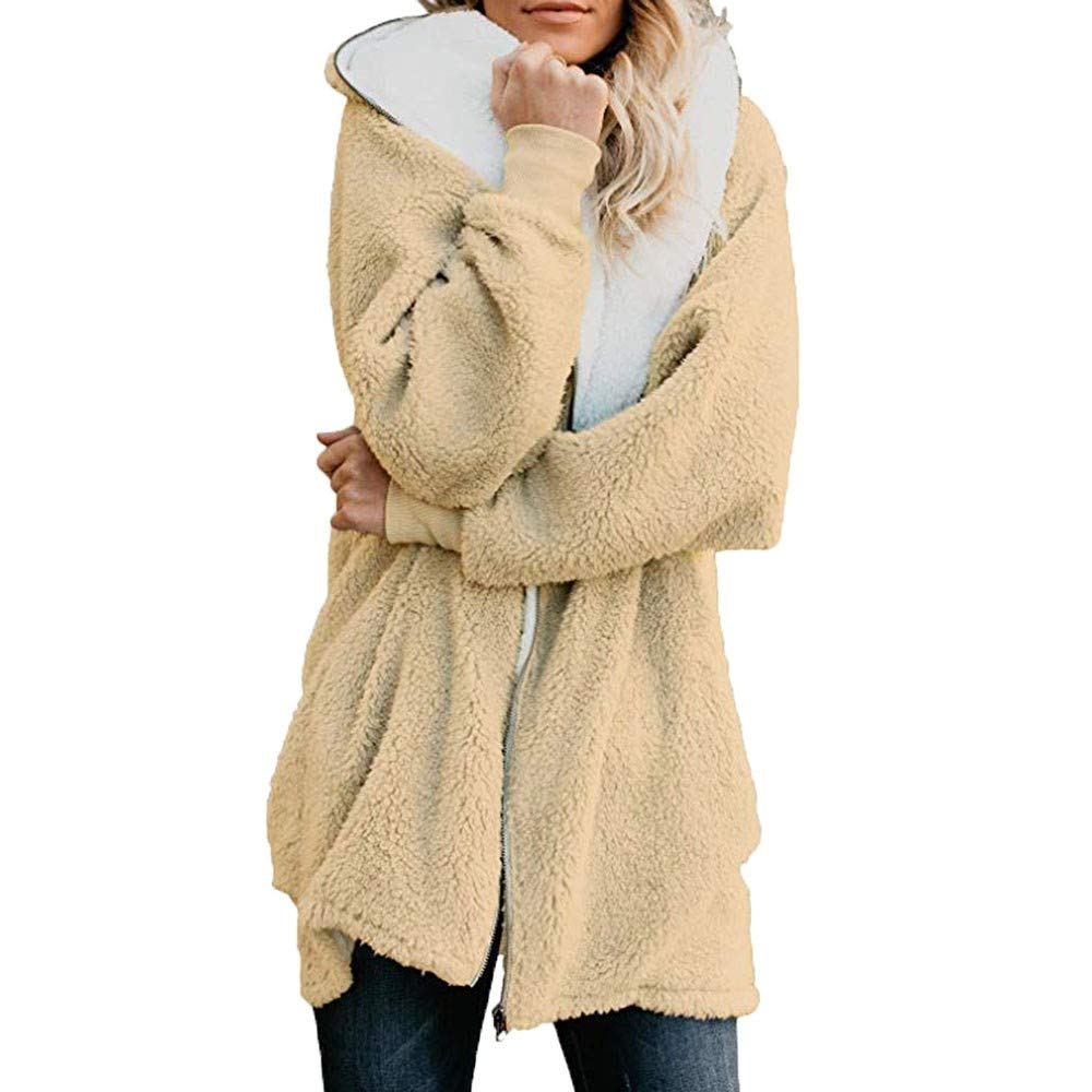 aihihe Plus Size Winter Coats for Women Warm Shaggy Lining Solid Oversized Fluffy Hooded Coats Jackets Outerwear Parka Yellow by aihihe Outerwear