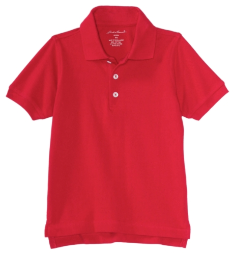 Eddie Bauer Boys' Little' Polo Shirt (More Styles Available), Pique Engine Red, 5/6