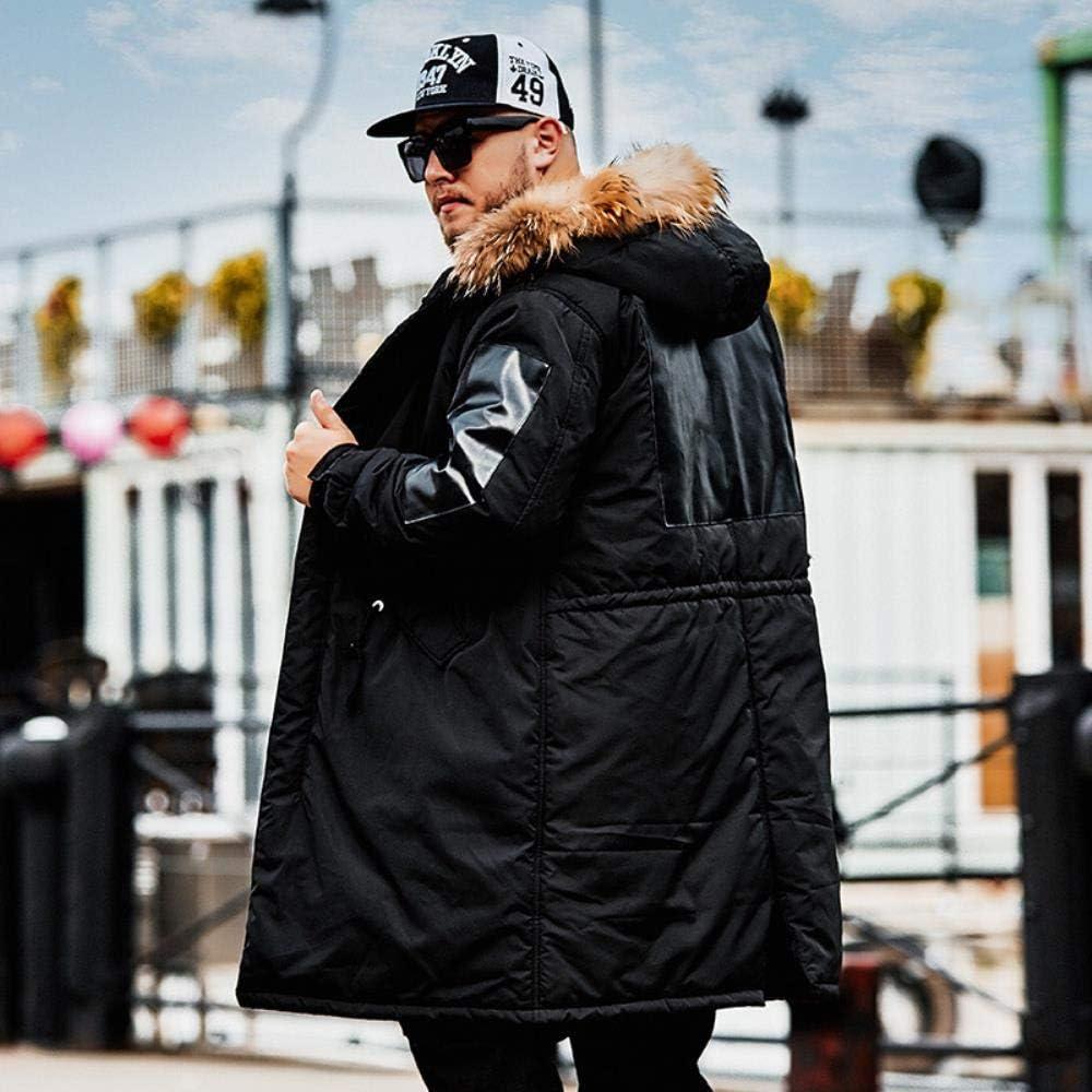 BOBD-DW Veste Ample en Coton À Capuche Lâche Veste Chaude Rembourrée Et Sections Longues Black