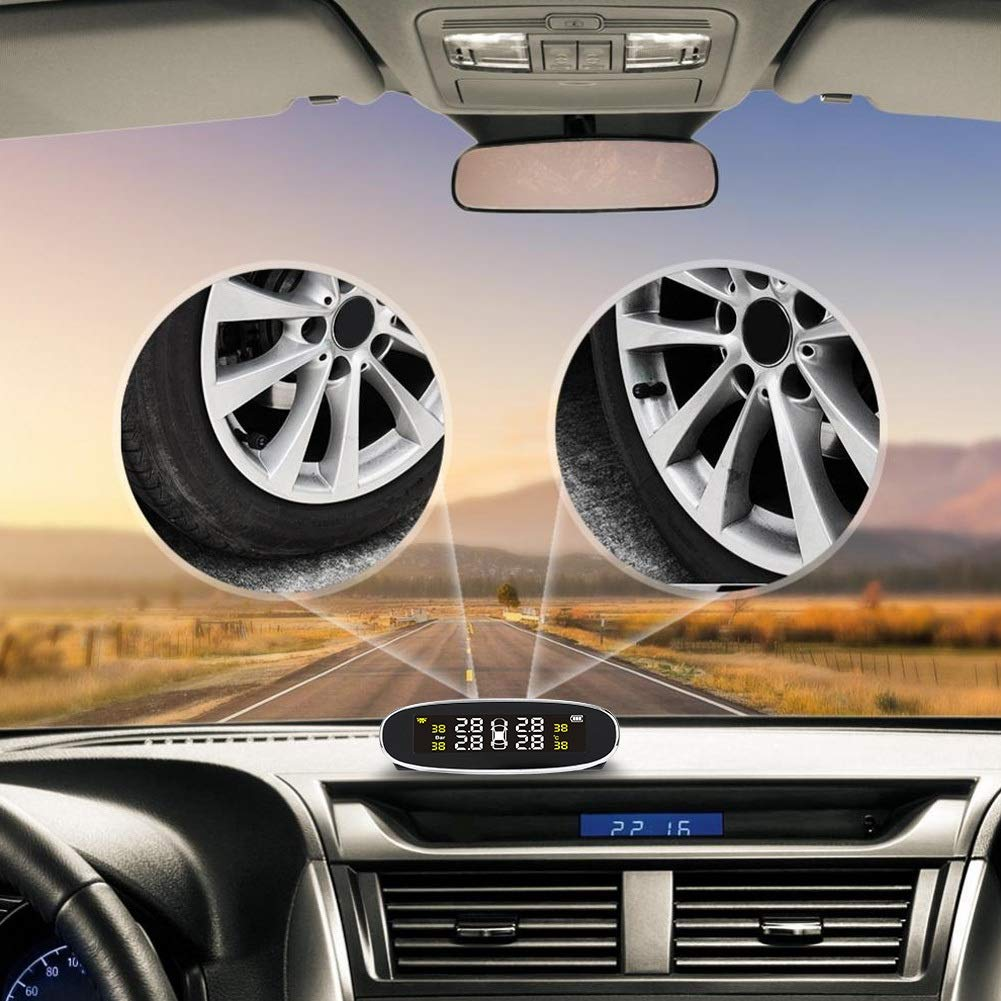 camiones y veh/ículos Dibiao Sistema universal de monitoreo de presi/ón y temperatura de neum/áticos con energ/ía solar TPMS Detecci/ón en tiempo real con sensor externo y pantalla LCD para autom/óviles