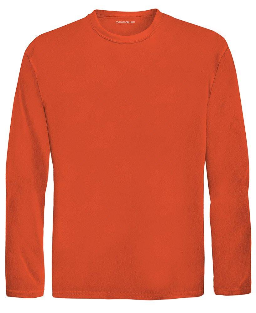 DRI-EQUIP Youth Long Sleeve Moisture Wicking Athletic Shirts. Youth Sizes XS-XL, Deep Orange, X-Small by Joe's USA
