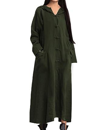 Shorts Women's Clothing Vintage Women Long Sleeve Plate Buckles Pocket Hooded Maxi Dress
