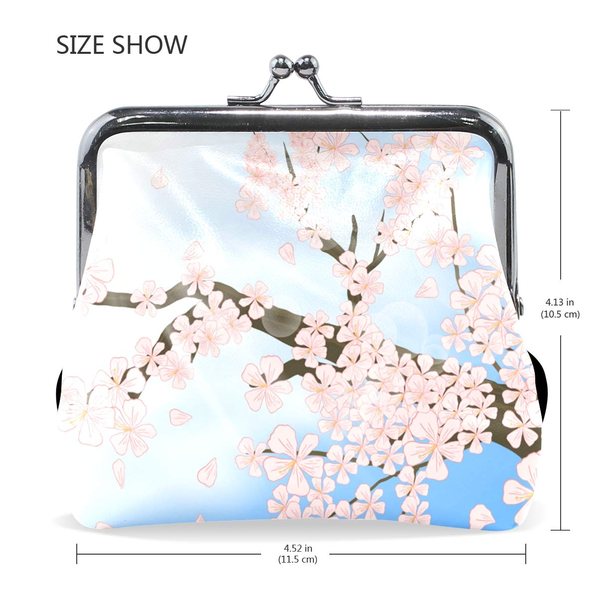 LALATOP Peach Blossom In Shinny Day Womens Coin Pouch Purse wallet Card Holder Clutch Handbag
