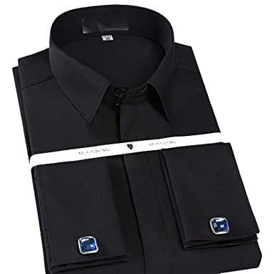15468d249c28a Slim Fit French Cuff Dress Shirt Long Sleeve Covered Placket Tuxedo ...
