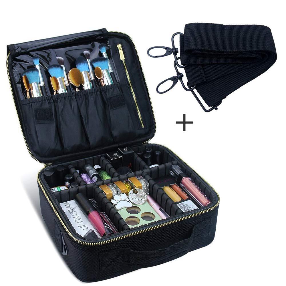 Travel Makeup Case,Chomeiu- Professional Cosmetic Makeup Bag Organizer Makeup Boxes With Compartments Neceser De Maquillaje (Black-M)