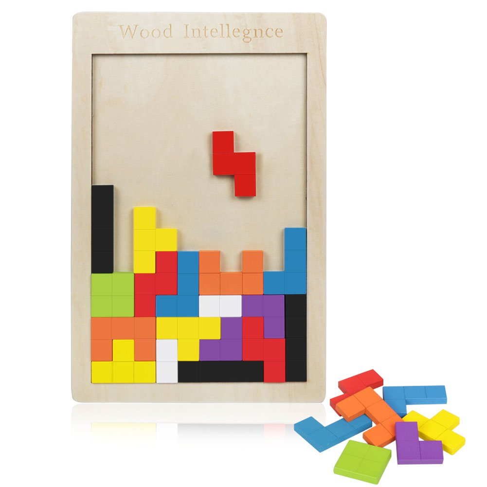 Meerveil Geometrische Tetris-Holzbausteine, Tetris Holzpuzzle Für Kinder Baby Kleinkind, Holz Puzzle Spielzeug Als Familenspiel, Intelligenz Pädagogisch Blocks Holzspielzeug Als Spielwaren Intimate WM Heart