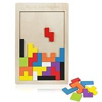 Intimate WM Heart 40PCS Puzzle Tetris En Bois Naturel Non-verni Jeu Éducatif Jeu De Construction Et d'Imagination Cadeau Pour Enfants / Adultes