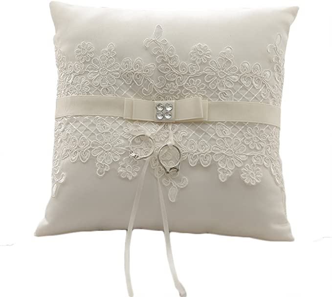 Amyove 8.26 Inch Ivory Lace Pearl Beach Wedding Ring Pillow Cushion Bearer Souvenirs