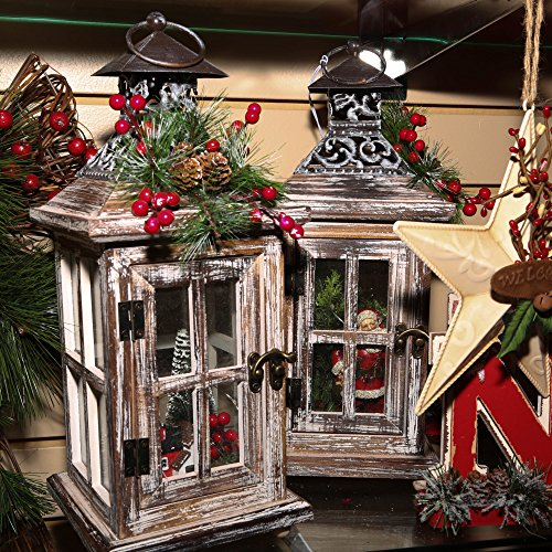 Gerson Set of 2 13.5InH B/O Wood Lanterns by Gerson (Image #1)