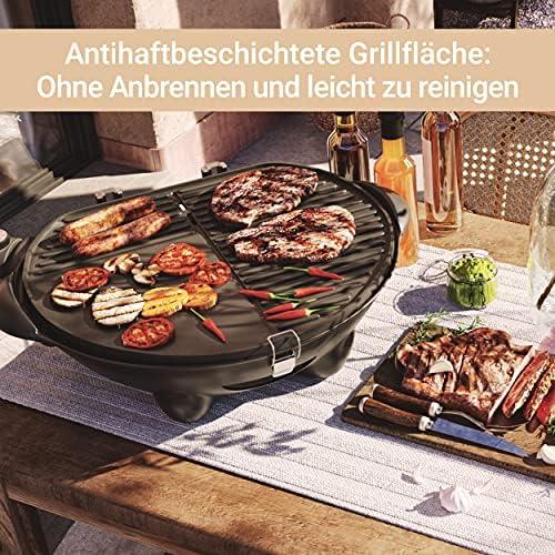 SUNTEC Barbecue sur pied electrique BBQ-9295 [Convient également comme Grill de table électrique à barbecue, avec étagère, thermostat réglable, max. 2400 W]