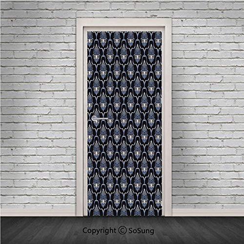 Dark Blue Door Wall Mural Wallpaper Stickers,Vintage Royal Damask Motifs Swirls Curvy Tile Victorian Fashion,Vinyl Removable 3D Decals 30.4x78.7/2 Pieces Set,for Home Decor Dark Blue Light Blue White